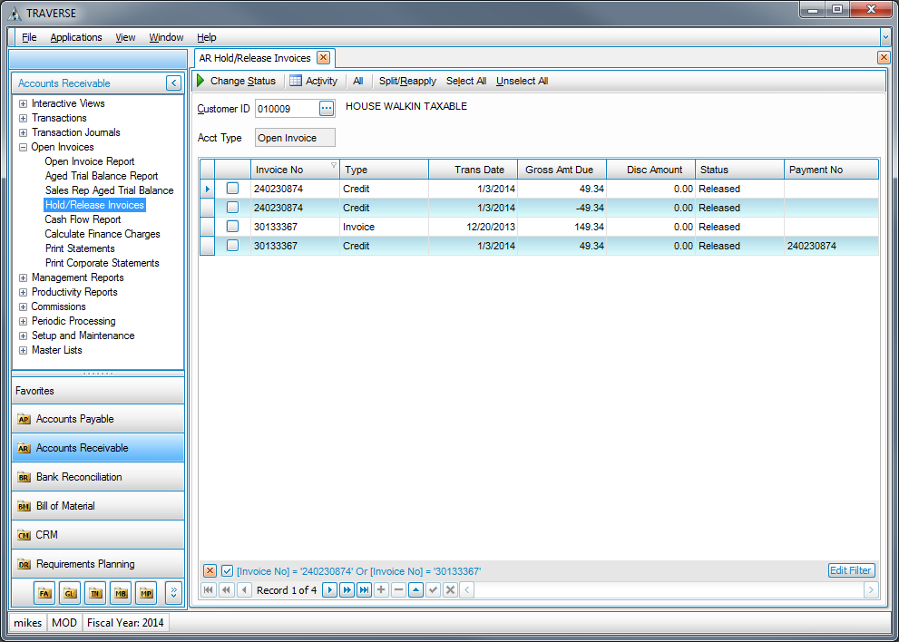 traverse accounting software modifications and add ons accounts