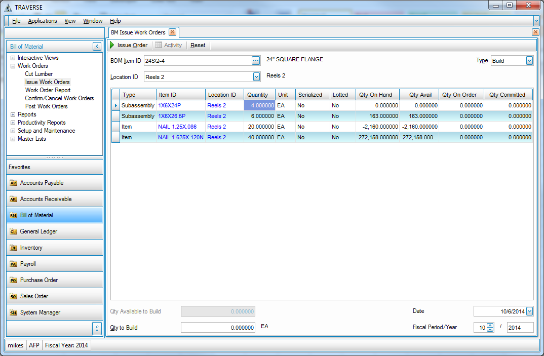 traverse accounting software modifications and add ons allow item
